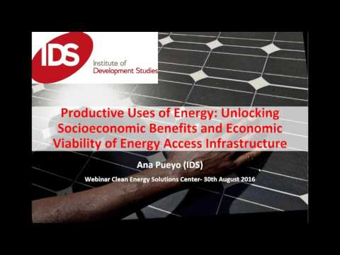 Productive Uses of Energy: Unlocking Socioeconomic Benefits and Economic Viability