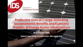 Productive Uses of Energy: Unlocking Socioeconomic Benefits and Economic Viability