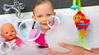 Bath song Nursery Rhymes  with doll Emili and Tasya