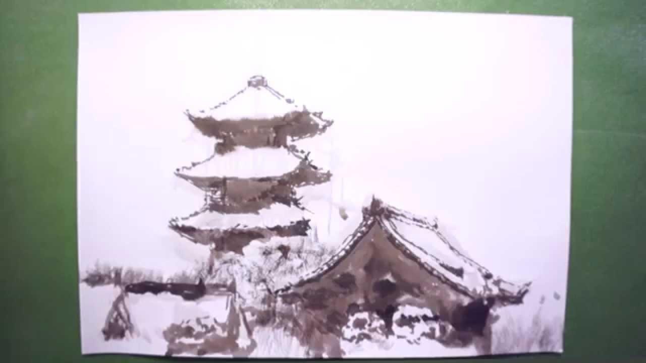 How To Draw 描き方東寺五重塔 Touji Three Story Pagoda を墨