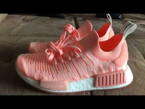 d61a3cd6f9d42 WOMEN S NMD R1 STLT PRIMEKNIT (CLEAR ORANGE) - YouTube