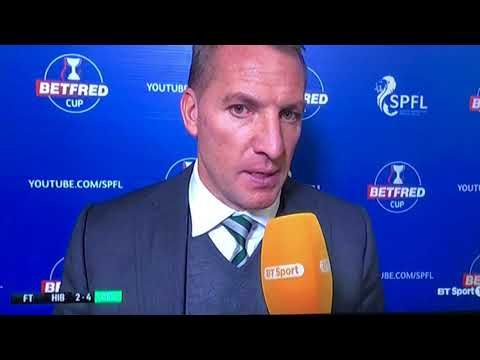 Hibs 2-4 Celtic Betfred league Cup Semi Final Brendan Rodgers Interview
