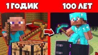 Как ПРО прожил жизнь в Майнкрафт / Эволюция Мобов 1 годик 100 лет Minecraft / Жизненный Цикл В майне
