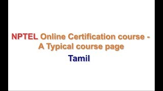 NPTEL Online Certificate Course - A Typical Course Page - Tamil thumbnail