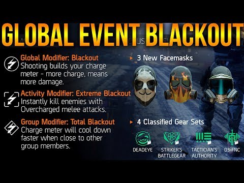 THE DIVISION | GLOBAL EVENT BLACKOUT EVERYTHING YOU NEED TO KNOW | GEAR SETS, MASKS & PLAYLIST