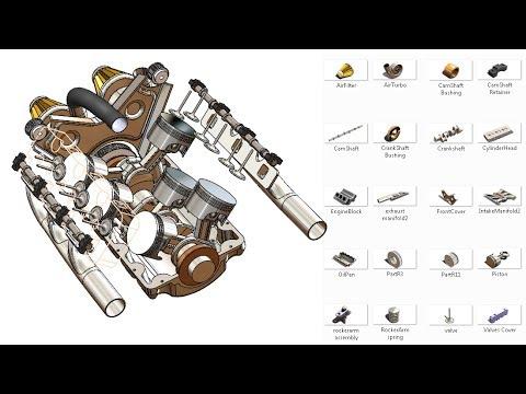SolidWorks RE Tutorial #320 : V6 Engine complete video