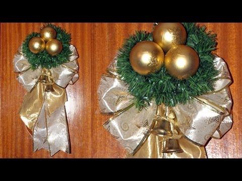 Adorno navide o para la puerta de casa diy christmas for Arreglos navidenos para puertas 2016
