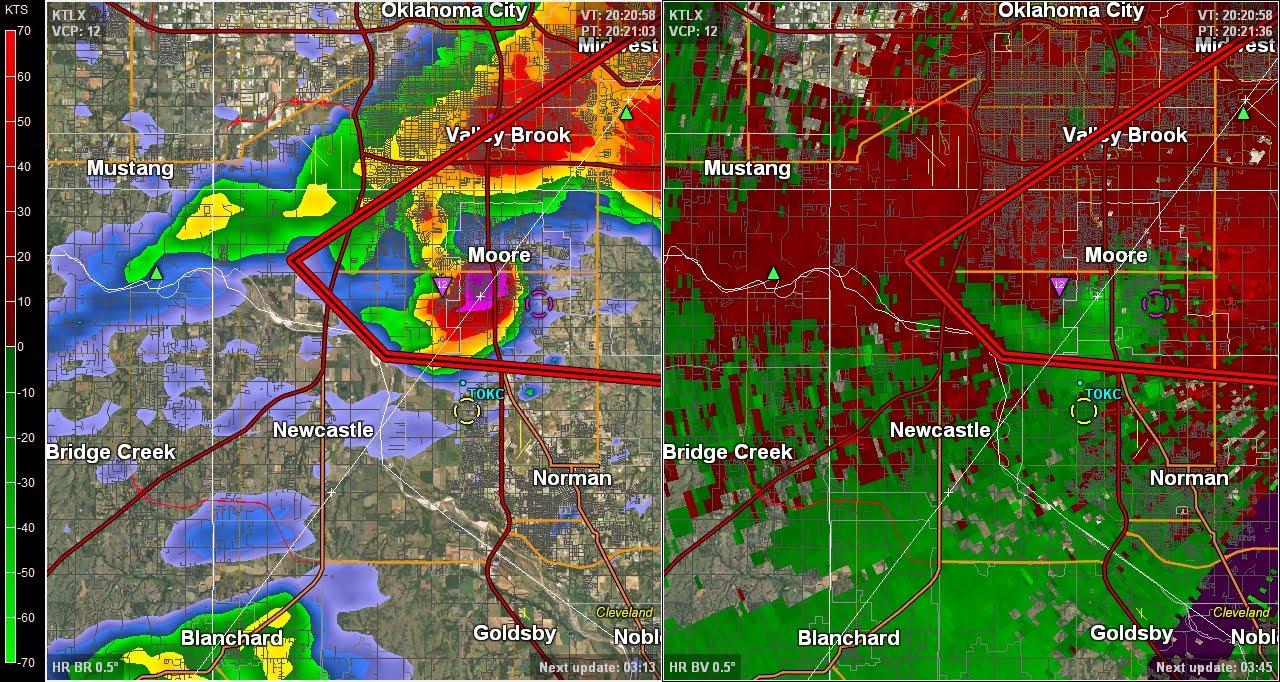 Doppler Radar - Moore Oklahoma EF-5 Tornado - May 20, 2013