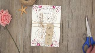 How to make rustic lace wedding invitations with tag | DIY invitation