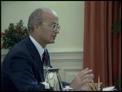 President Reagan Meeting With Secretary Of Interior James Watt In Oval Office On October 12