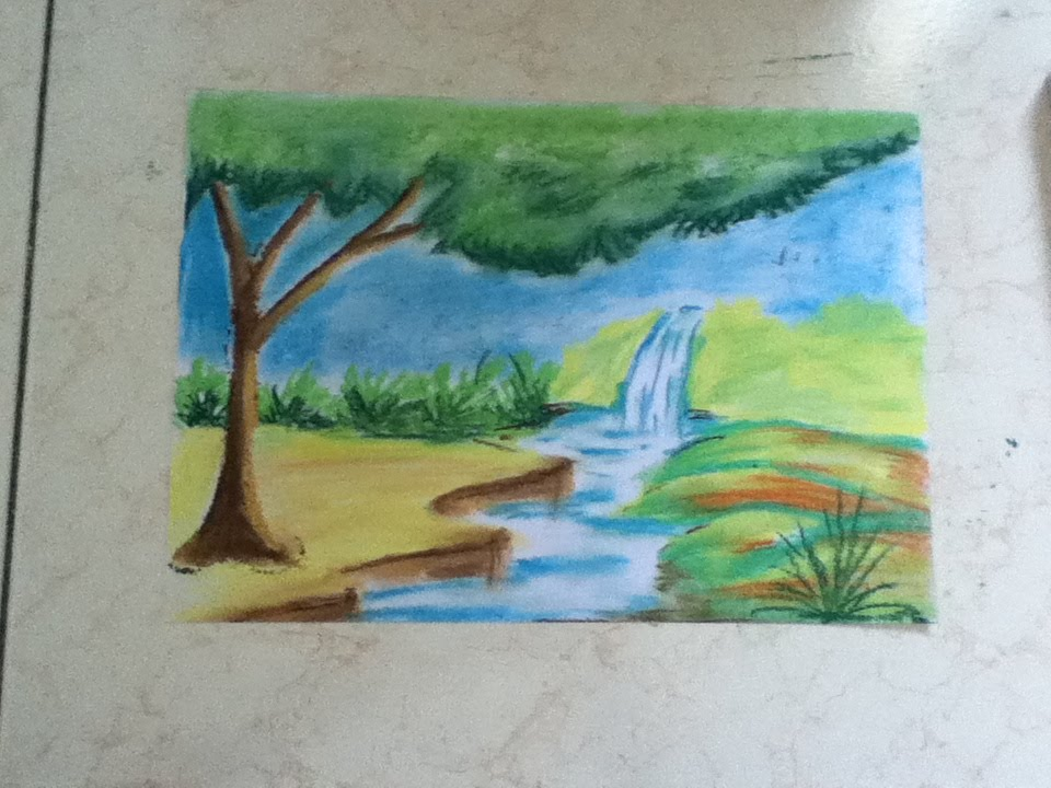 Scenery Drawing For Kids Using Chalk Pastel Youtube