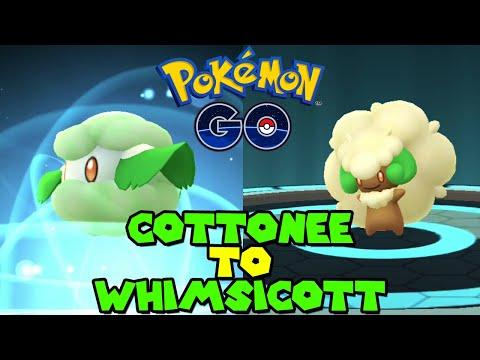 Evolving COTTONEE to WHIMSICOTT in Pokemon Go Unova Week