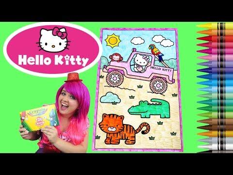 Coloring Safari Hello Kitty Sanrio GIANT Coloring Book Page Crayola Crayons | KiMMi THE CLOWN