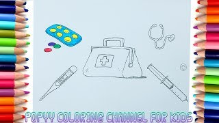 How To Draw Doctors Coloring Page Art Color: Thermometer, Syringe, Medical Instruments  And Medicine