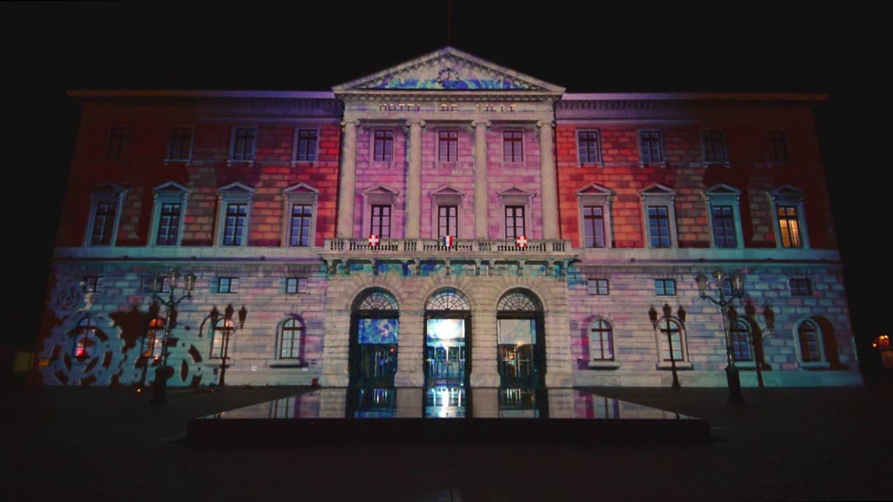 no l des alpes annecy 2015 projection son et lumi re sur la fa ade de l 39 h tel de ville youtube