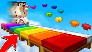 RAINBOW BED PARKOUR CHALLENGE! (With half an eye...)