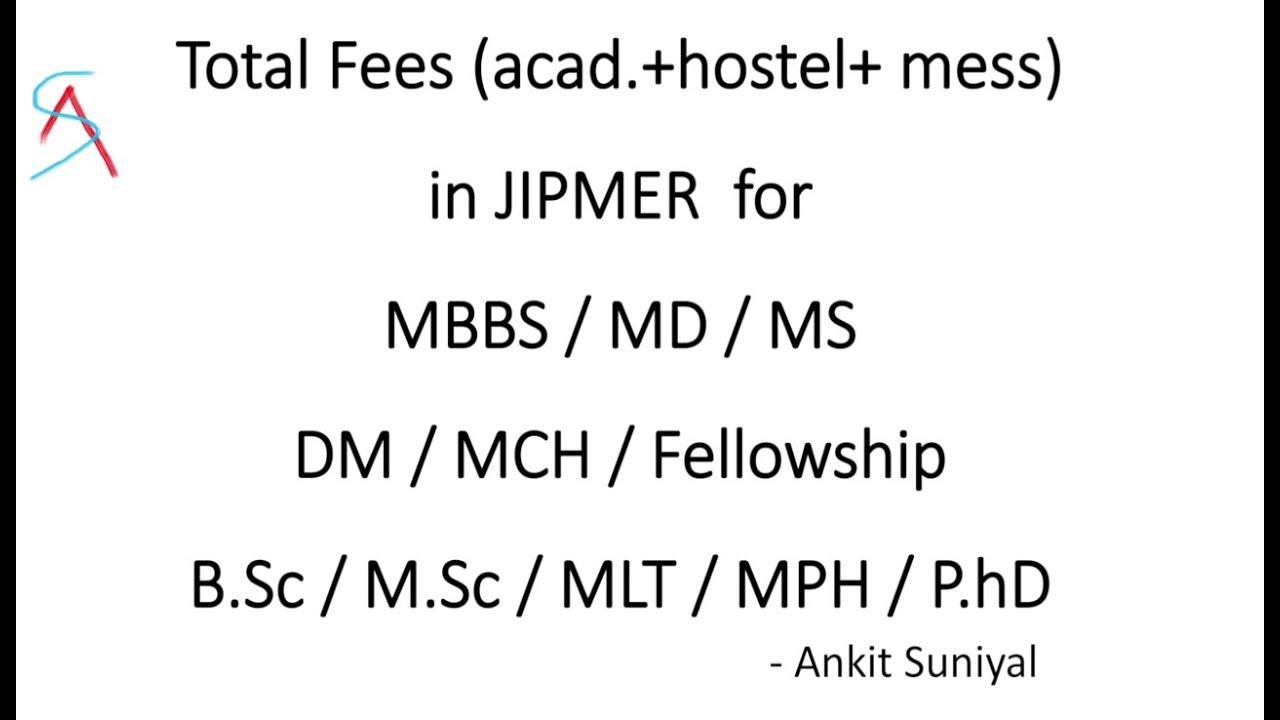 Total Fees in JIPMER for MBBS/MD/MS/DM/MCH/BSC/MSC/MPH/PHD