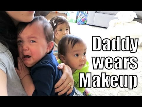 Babies Reaction to Daddy Wearing Makeup and a Wig-  ItsJudysLife Vlogs