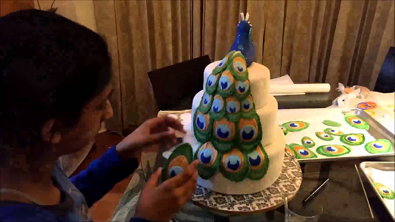 How to make fondant feathers youtube - Peacock Cake Feather Assembly