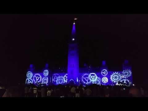 Ottawa light show on Parliament Building. 2017