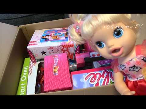 Видео: Кукла Большая коробка Сюрприз ПОСЫЛКА Новые  ИГРУШКИ Барби Штеффи Маша и Медведь Детская кухня Пинки