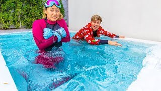 i froze my swimming pool with 7000 pounds of ice