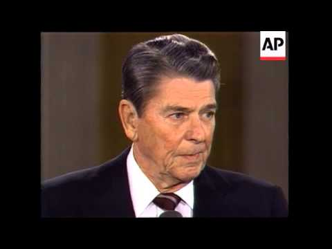 President Ronald Reagan holds a news conference and takes question on the Iran arms and Contra aid c
