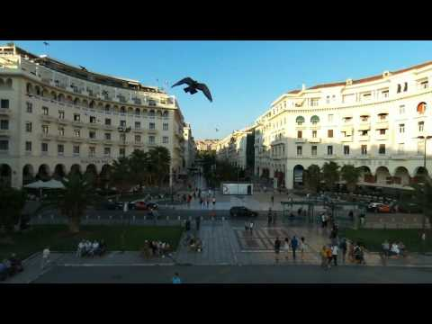Thessaloniki: Aristotelous square and Umbrella' s sculpture (censored edition)