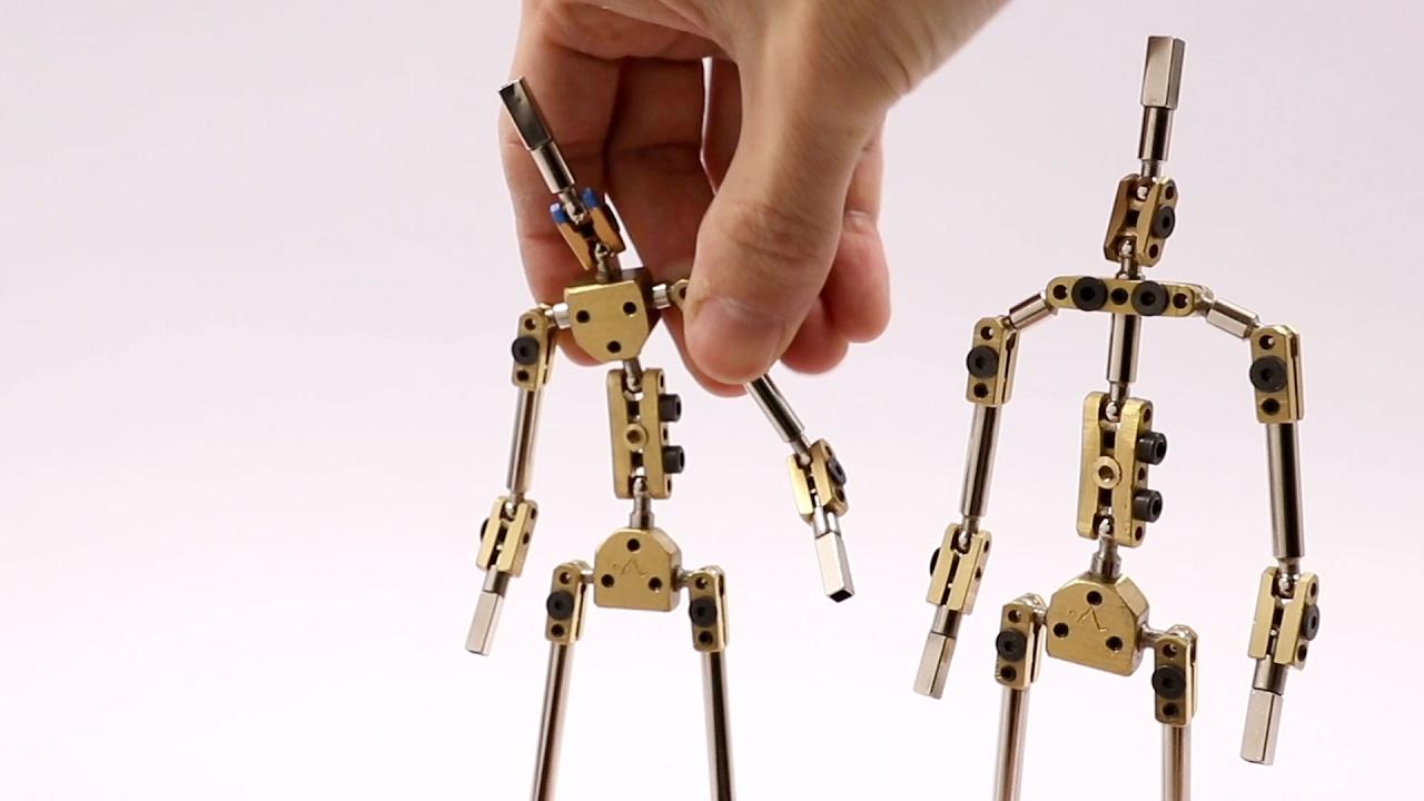 k1 stop motion animation puppet armature skeleton - YouTube