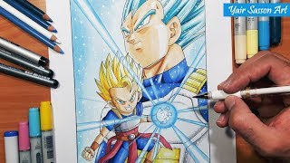 How To Draw VEGETA and CABBA! Dragon ball super - Quick Tutorial