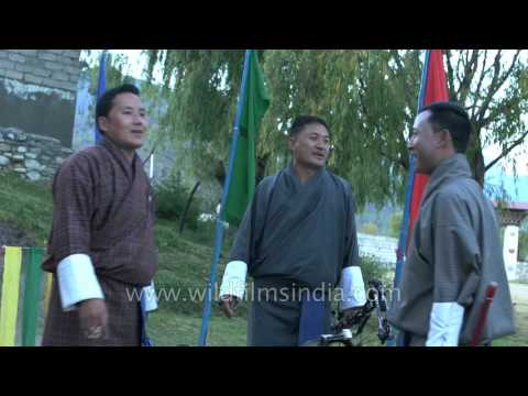 Bhutan Archers singing while playing the national sport