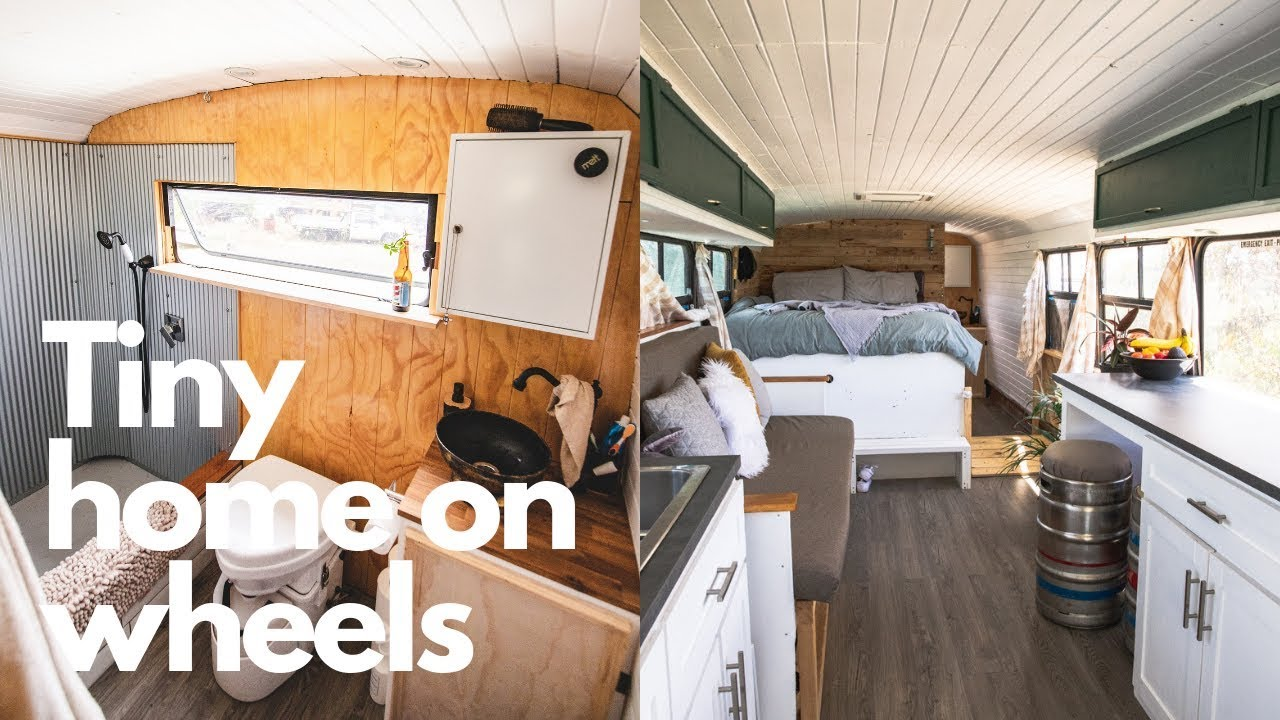 Off Grid Self Converted School Bus Full Tour Of Our Tiny