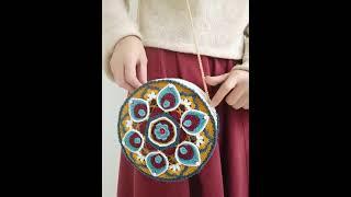 블랭킷 코바늘 뜨기 연꽃무늬 크로스 가방 DIY 망스티…
