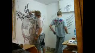 Devil and Angel wing speed wall drawing Shadow  Art Tattoo Proteusz & Szychu