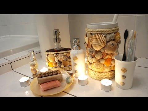 DIY Project Bathroom Accessories Real Shells Shower Gel Display Bathroom Accessories Set