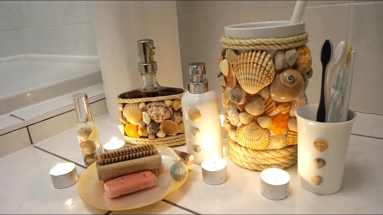 DIY Project Bathroom Accessories Real Shells Shower Gel Display Bathroom Accessories Set