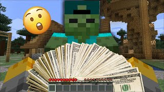 GIVING ZOMBIE FAMILY $1,000 DOLLARS TO SPEND ON ANYTHING IN MINECRAFT / SHOPPING SPREE!! Minecraft