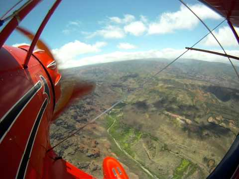 Waco Biplane Flight Into Waimea Canyon