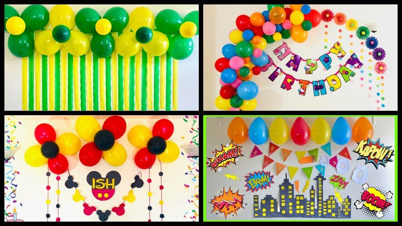 Very Easy Balloon Decoration Ideas Balloon Decoration Ideas At Home Kids Birthday Decoration Youtube