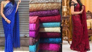 Budget friendly Beautiful designer lace saree design ideas/Lace saree with designer blouse designs