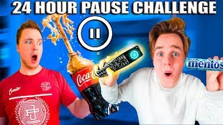24 Hour PAUSE CHALLENGE! Coke And Mentos Prank (Papa Jake Vs Logan