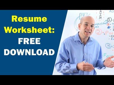 Resume Writing Worksheet (walk Through...)  Resume Writing Worksheet