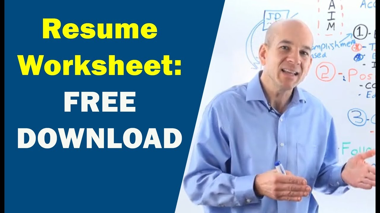 Resume Builder Worksheet Pdf Download Youtube