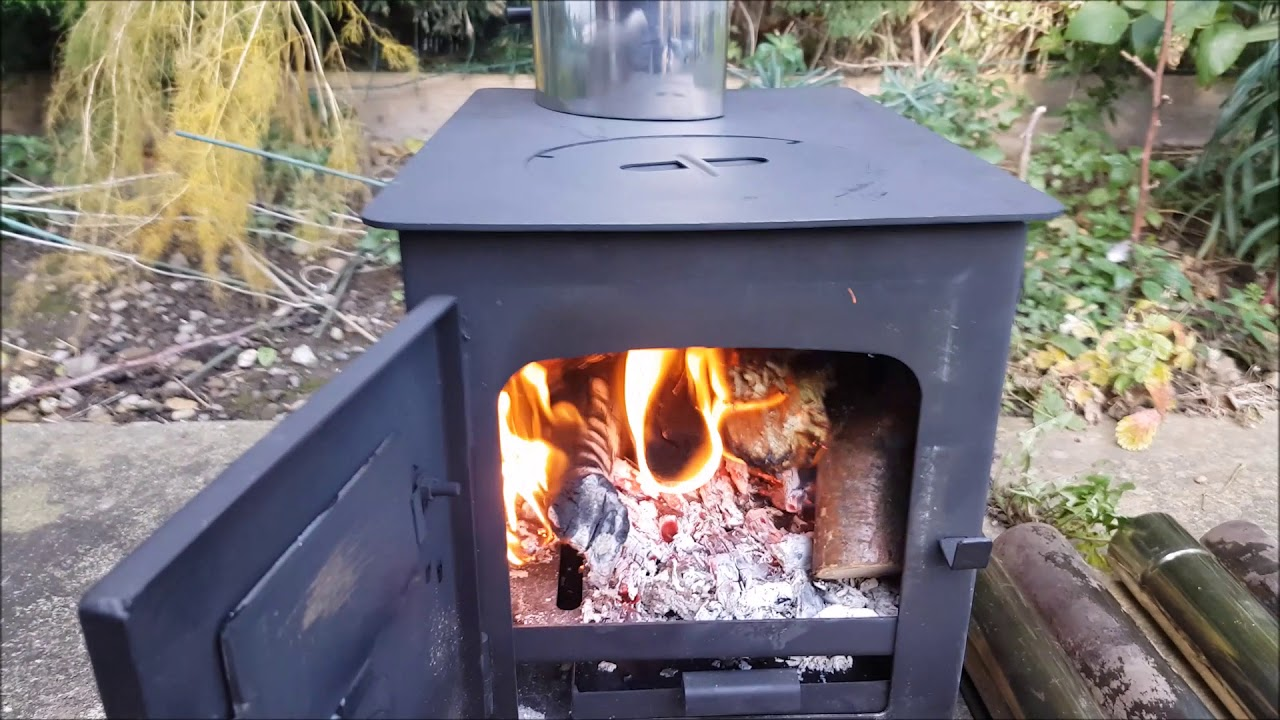 Outbacker Portable Wood Burning Tent Stove boiler test & Outbacker Portable Wood Burning Tent Stove boiler test - YouTube
