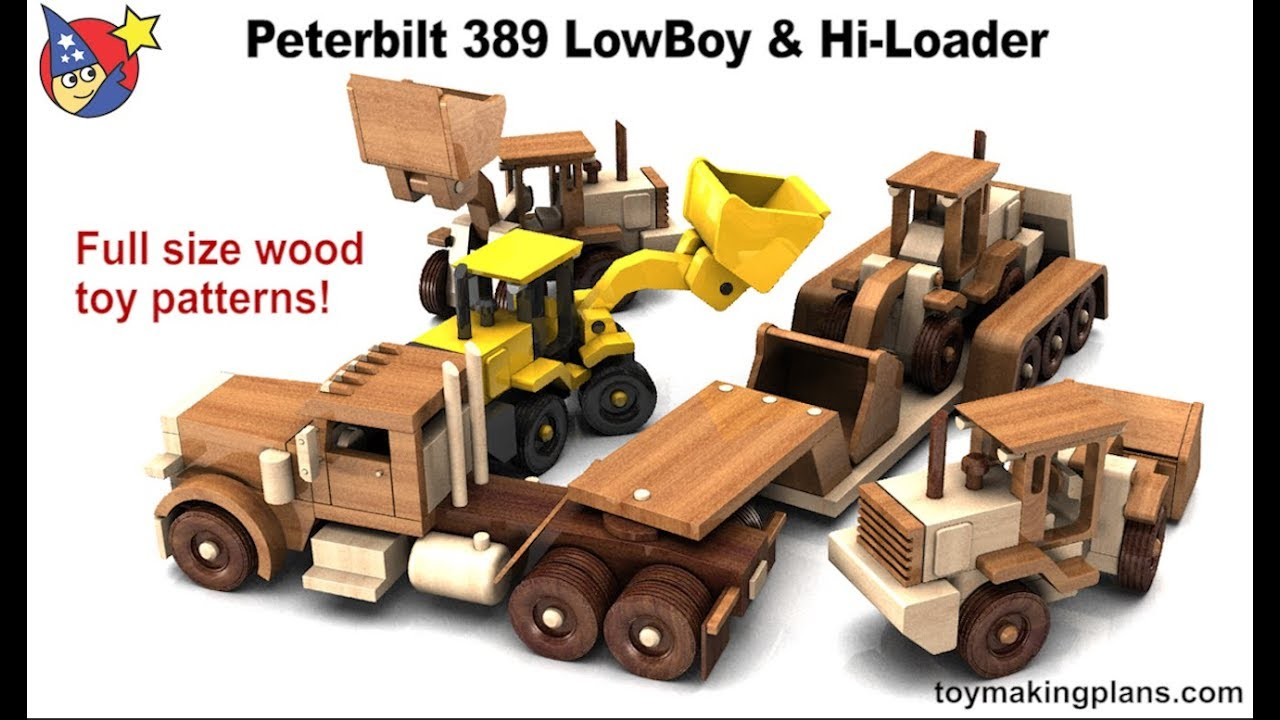 wood toy plans - peterbilt 389 lowboy and hi loader