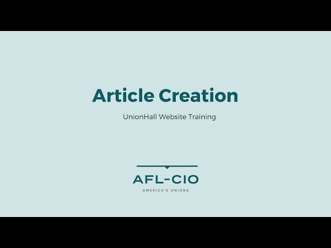 UnionHall Training - Article Creation