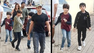 Hrithik Roshan With Family - CUTE Kids Hrihaan & Wife Suzanne At Juhu PVR