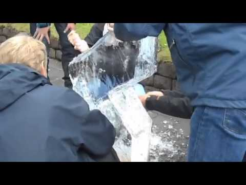 Ice carving in the public square in Reykjavik Sept. 19, 2014