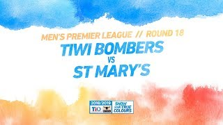 Tiwi Bombers vs St Mary's: Round 18 - Men's Premier League: 2018/19 TIO NTFL