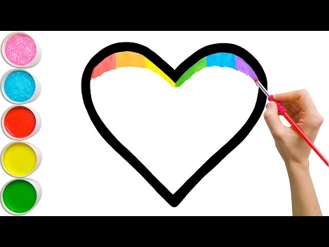 Rainbow Heart Glitter Coloring For Kids | Learn Shapes, Colors For Toddlers | Magic Fingers Art #02